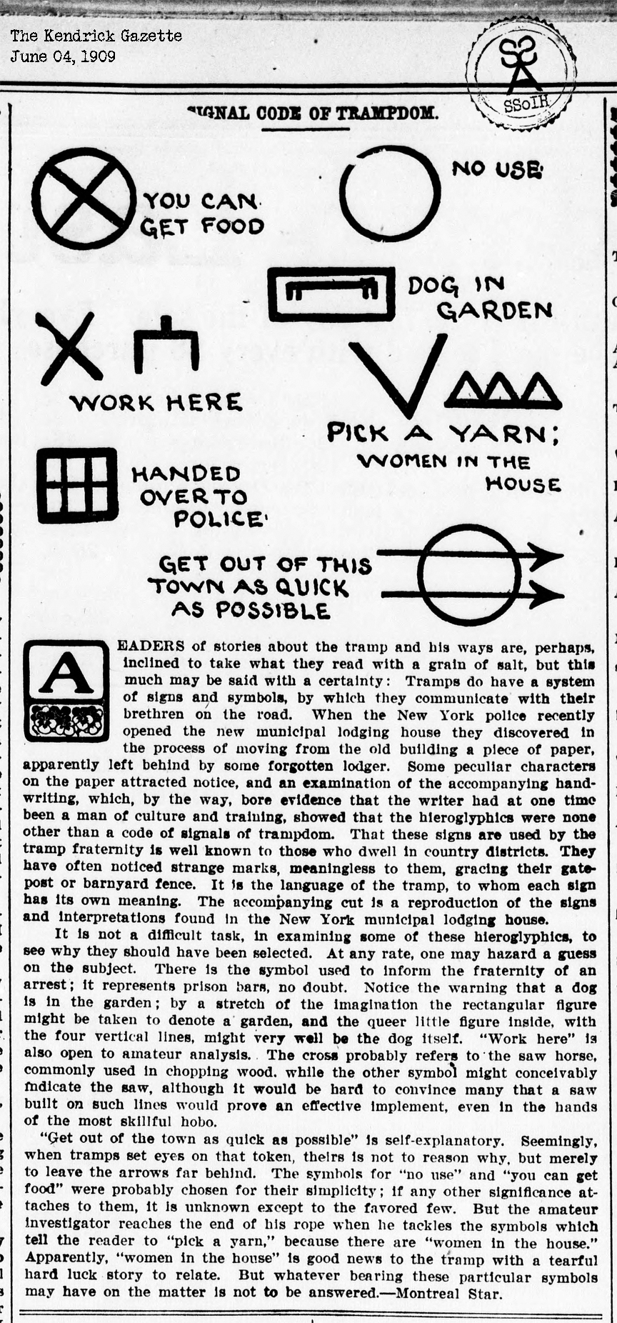 Ssoih history of hobo signs signal code of trampdom several codes discussed such as work here park a yarn women in the house dog in garden etc montreal star june 4 1909 buycottarizona Choice Image